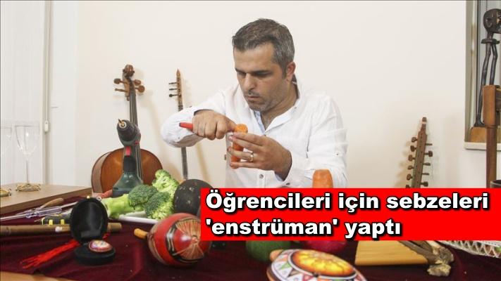 Öğrencileri için sebzeleri 'enstrüman' yaptı