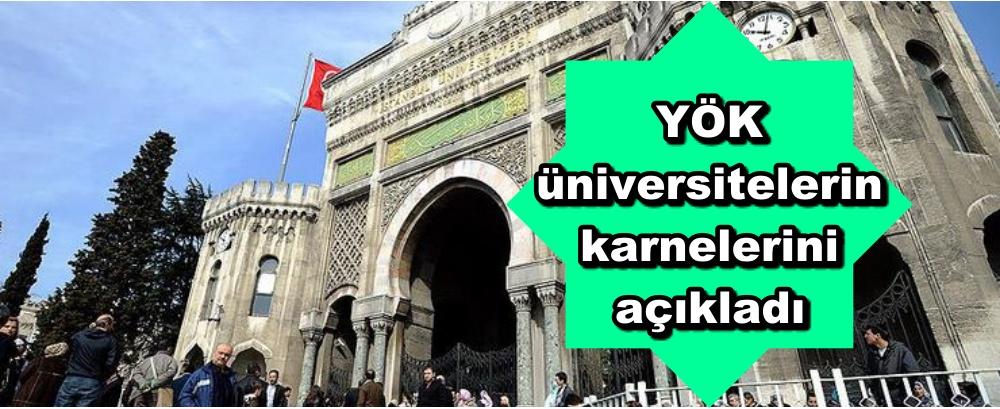 YÖK üniversitelerin karnelerini açıkladı