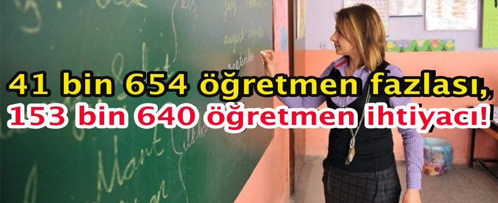 41 bin 654 öğretmen fazlası, 153 bin 640 öğretmen ihtiyacı!