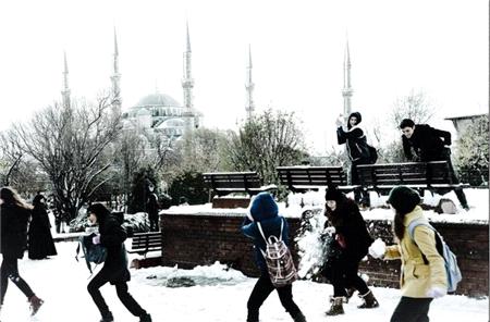 Okulda Kar Manzarası