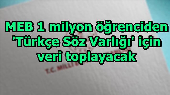 MEB 1 milyon öğrenciden 'Türkçe Söz Varlığı' için veri toplayacak