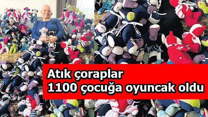 Atık çoraplar 1100 çocuğa oyuncak oldu