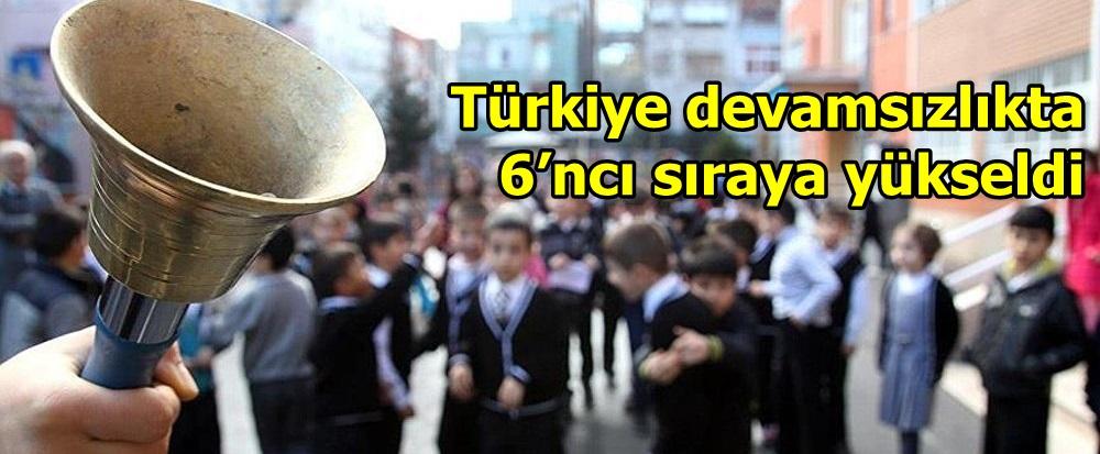 Türkiye devamsızlıkta 6'ncı sıraya yükseldi