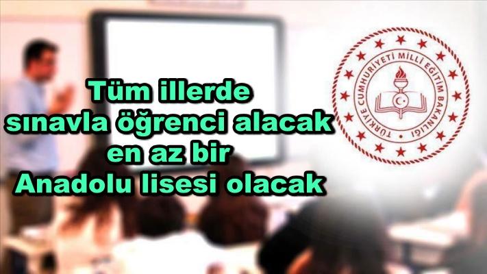 Tüm illerde sınavla öğrenci alacak en az bir Anadolu lisesi olacak