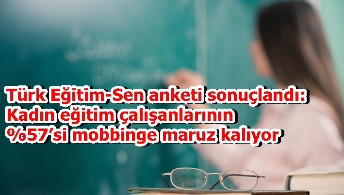 Türk Eğitim-Sen anketi sonuçlandı: Kadın eğitim çalışanlarının 67'si mobbinge maruz kalıyor