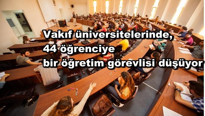 Vakıf üniversitelerinde, 44 öğrenciye bir öğretim görevlisi düşüyor