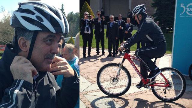 Abdullah Gül bisiklete bindi