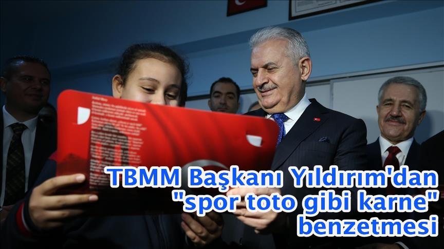 """TBMM Başkanı Yıldırım'dan """"spor toto gibi karne"""" benzetmesi"""