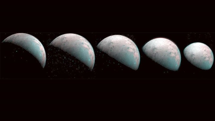 Jüpiter'in uydusu Ganymede'in kuzey kutbunun görüntüleri paylaşıldı