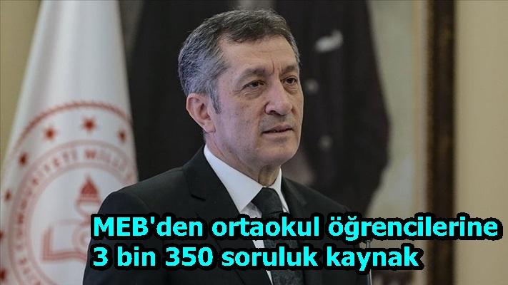 MEB'den ortaokul öğrencilerine 3 bin 350 soruluk kaynak