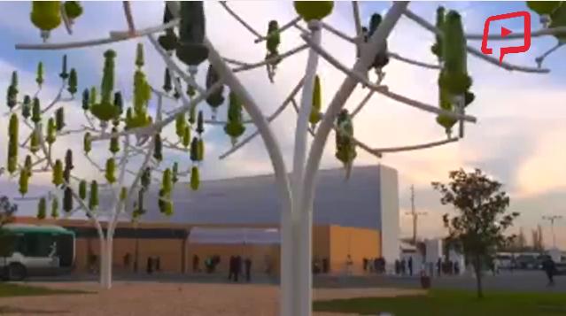 Ağaç şeklinde tasarlanmış rüzgar türbinleri...