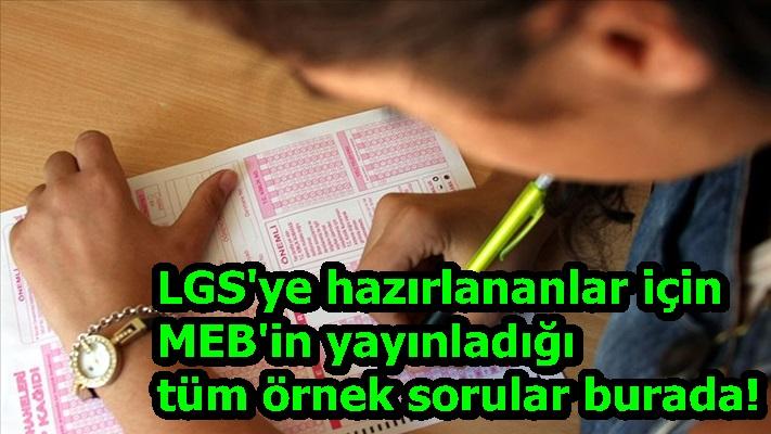 LGS'ye hazırlananlar için MEB'in yayınladığı tüm örnek sorular burada!