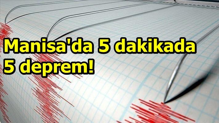 Manisa'da 5 dakikada 5 deprem meydana geldi